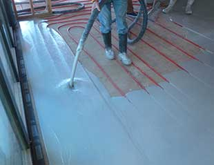 Covering Radiant Tubing with Gypsum Over Pour