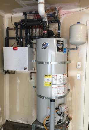 Gas Water Heating Tank Providing Hydronic Wall Heaters